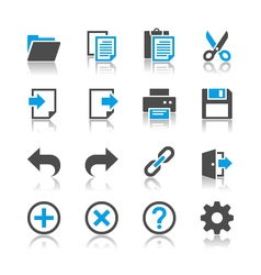 Application toolbar icons reflection vector