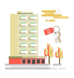 residential building and flat key with number 15 vector image