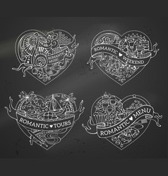 set of four hearts vector image