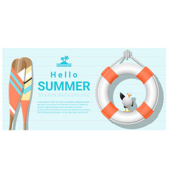 Hello summer background with lifebuoy vector