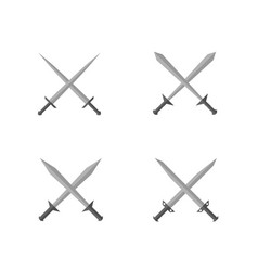 Silver sword set vector