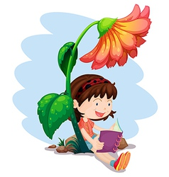 A girl reading a book below the giant flower vector