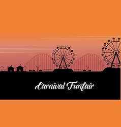 silhouette of carnival fun fair scenery vector image