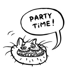 Party time cartoon cat head vector