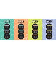 2017 Printable Calendar Starts Sunday vector image