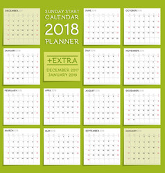 2018 calendar planner design week starts from vector image