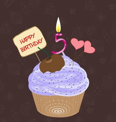 Birthday cupcake with lit candle in shape of vector