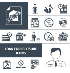 Loan foreclosure icons black vector