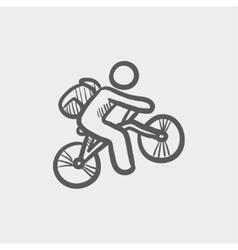 Mountain bike rider sketch icon vector image