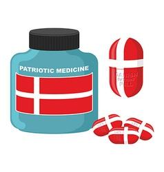 Patriotic medicine in Denmark Pills with Danish vector image