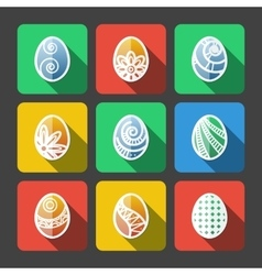 Set of flat easter eggs icons vector