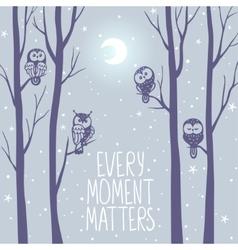 Owls night background vector
