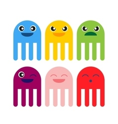Color cute jellyfish smiling icon vector