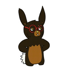 Comic cartoon rabbit wearing spectacles vector