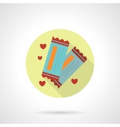 Round flat icon for lovers tickets vector