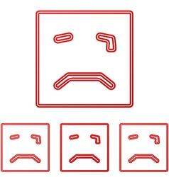 Red crying face logo design set vector