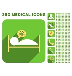Infected patient bed icon and medical longshadow vector