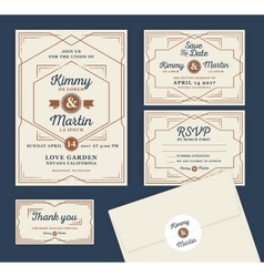 Art deco letterpress wedding invitation design vector