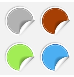 Set of colorful paper stickers on white background vector