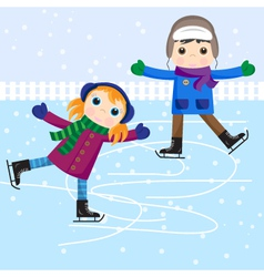 Ice skating little girl and boy vector