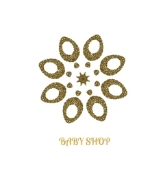 Abstract flower GOLD logo design template Elegant vector image