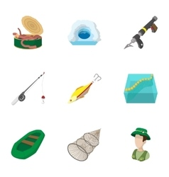 Angling icons set cartoon style vector