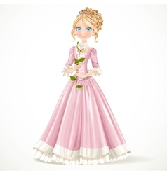 Beautiful young princess in a pink dress holding a vector image