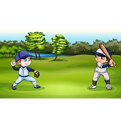 Boys playing baseball vector
