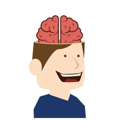 Brain idea man cartoon design vector