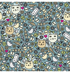 cats and birds wallpaper vector image vector image