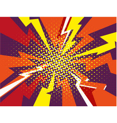 Comic book explosion ray red yellow purple vector