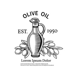 Decorative label with a bottle of oil and olives vector image