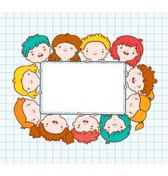 Doodle kids blank frame vector image