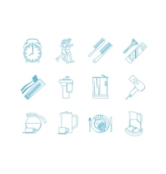 Good morning time line art icons vector