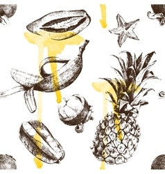 Hand drawn tropical fruits seamless vector image