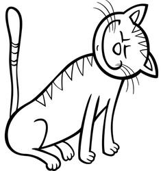 happy cat cartoon for coloring book vector image