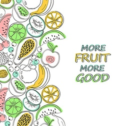 Healthy colorful fruits background vector image