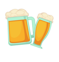 Man and woman glasses of beer with foam isolated vector