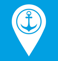 Map pointer with symbol anchor and sea port icon vector