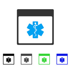 Medical life star calendar page flat icon vector