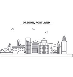 Oregon portland architecture line skyline vector