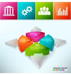Pie Chart With Arrows 3d vector image vector image