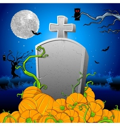 Pumpkin around Tomb Stone vector image