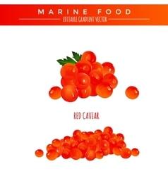 Red caviar marine food vector