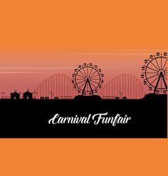 Silhouette of carnival fun fair scenery vector