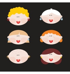 Six faces of cute women vector image vector image