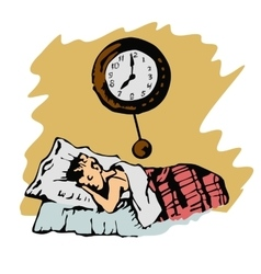 sketch of boy sleeps in bed and a clock on wall vector image vector image