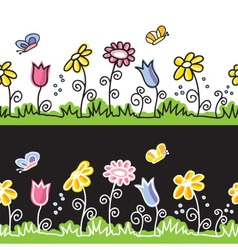 Summer flowers and butterflies on meadow vector image