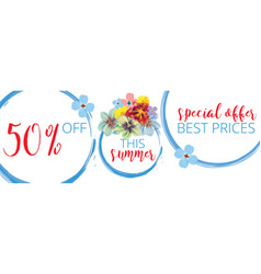 Summer sale floral banner with text on white vector