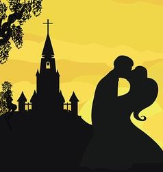 Sunshine church and wedding couple vector